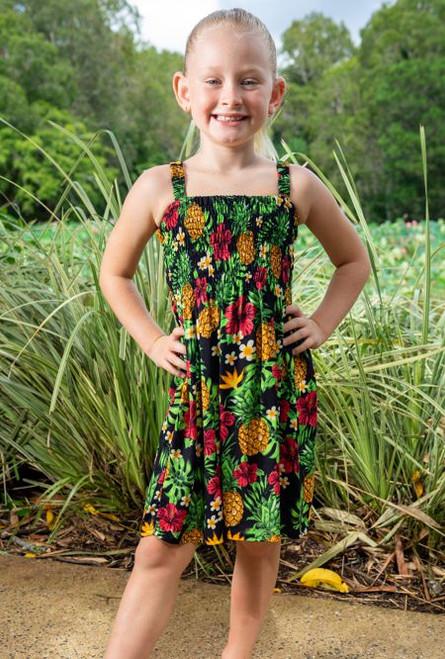 18983 Emma Kids Shirring Dress Pineapple