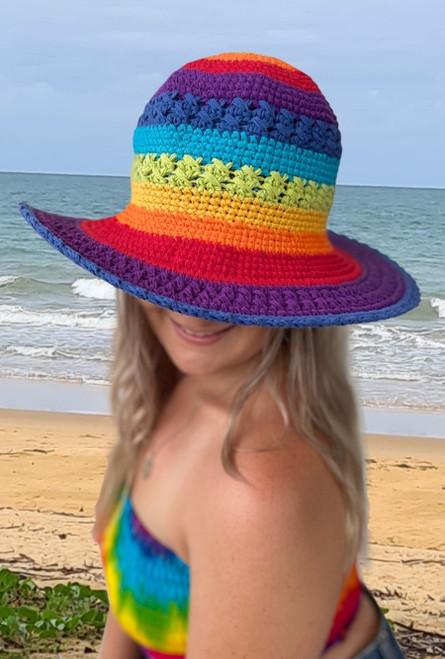 Ladies Crochet Rainbow Hat