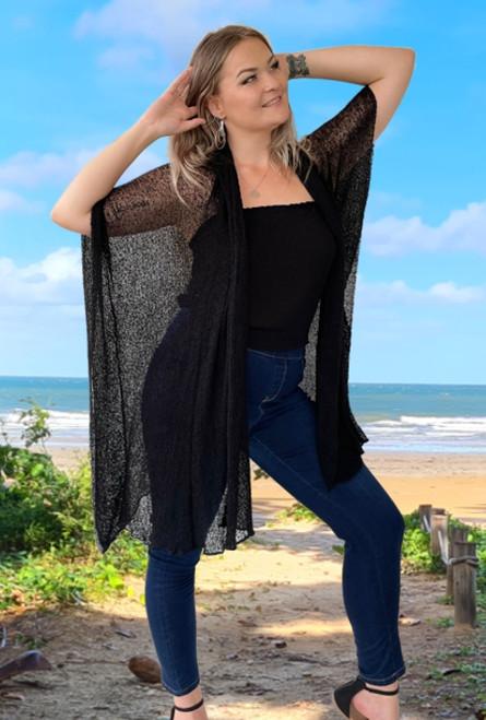 Susan Knit Long Jacket Black