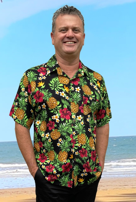 Hawaiian Tony shirt Men's Pineapple Black