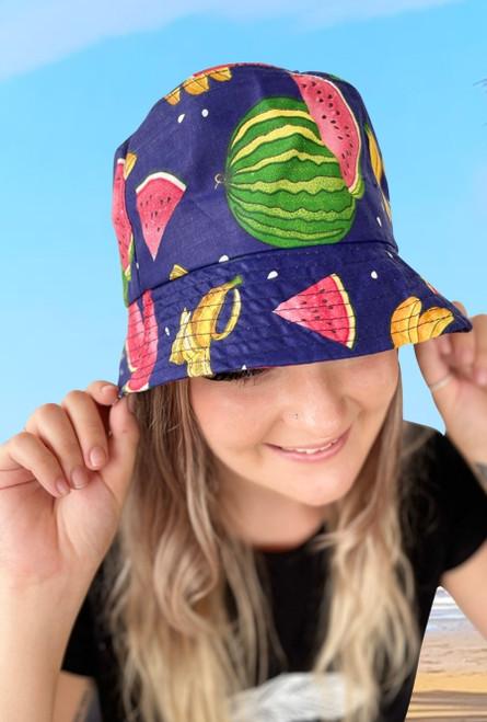 Watermelon Mixed Fruit Bucket Hat  Royal
