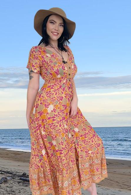 11962 Holly Boho Rose Long Dress