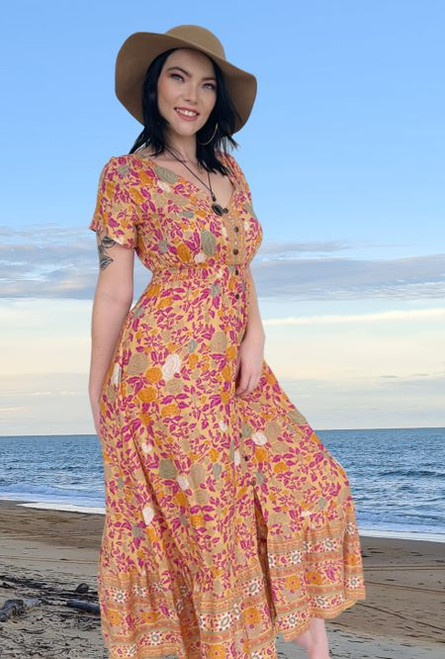 Holly Boho Rose Long Dress Yellow