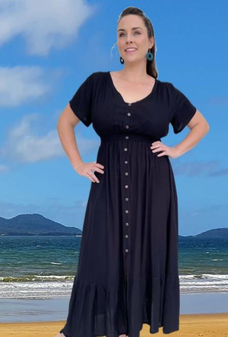 Holly Plain Black Long Dress