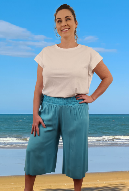 3/4 Shirring pants Turquoise
