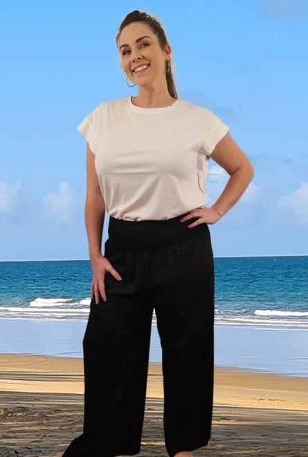 Full Length Shirring Pants Black