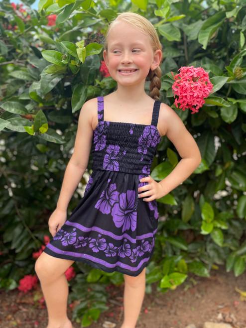 18983 Emma  Kids Shirring Dress Hibiscus
