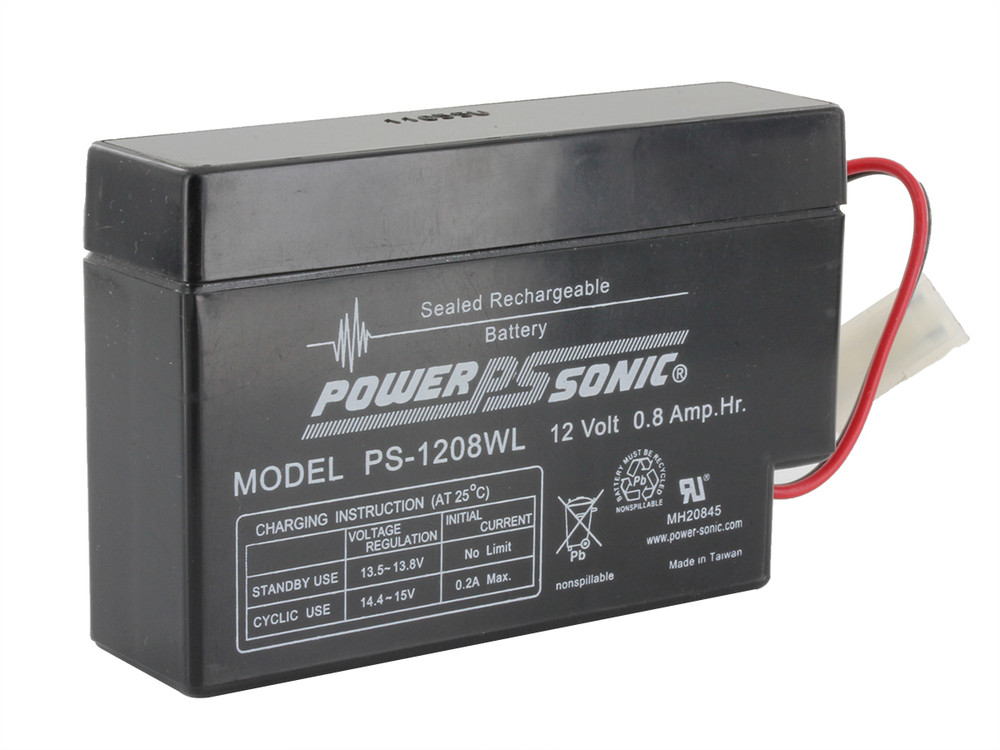 PS-1208 WL - Powersonic 12 volt - 0.8Ah - PLUG