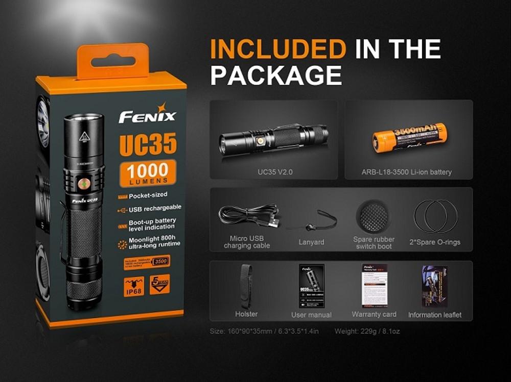 UC35-V2.0. - Fenix 1000 Lumen Rechargeable LED Flashlight