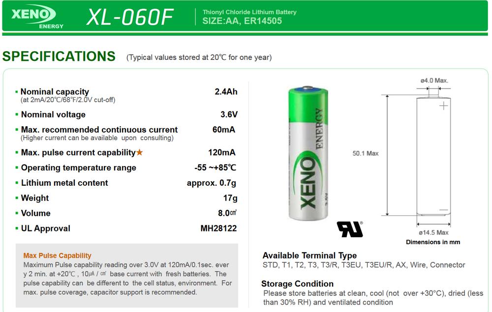 XL-060F [LS14500] - Xeno - Lithium AA - 3.6volt 2.4Ah
