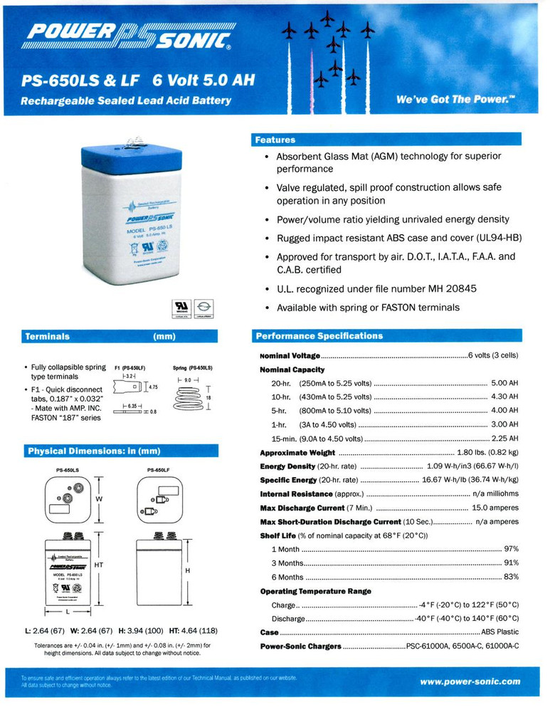 PS-650LS - Powersonic 6 volt - 5.0Ah - Spring Terminals  *** Special Order 10-14 days ***