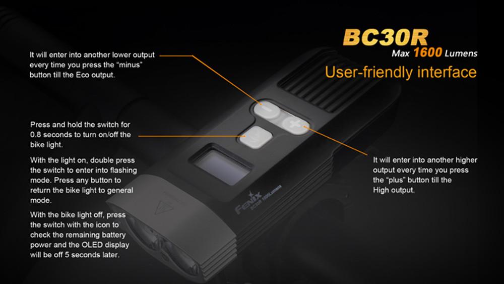 BC30R - Fenix Rechargeable LED Bike Light