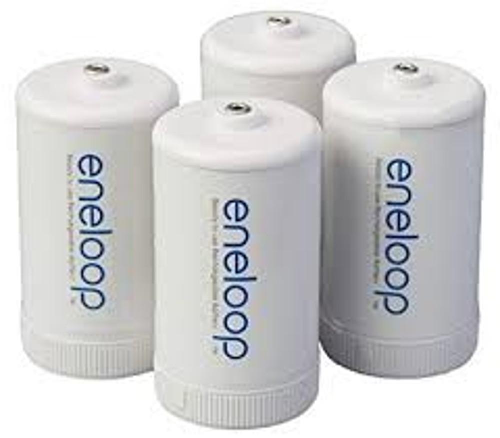 Eneloop D Cell Spacer AA Battery Converters - 4 Pack