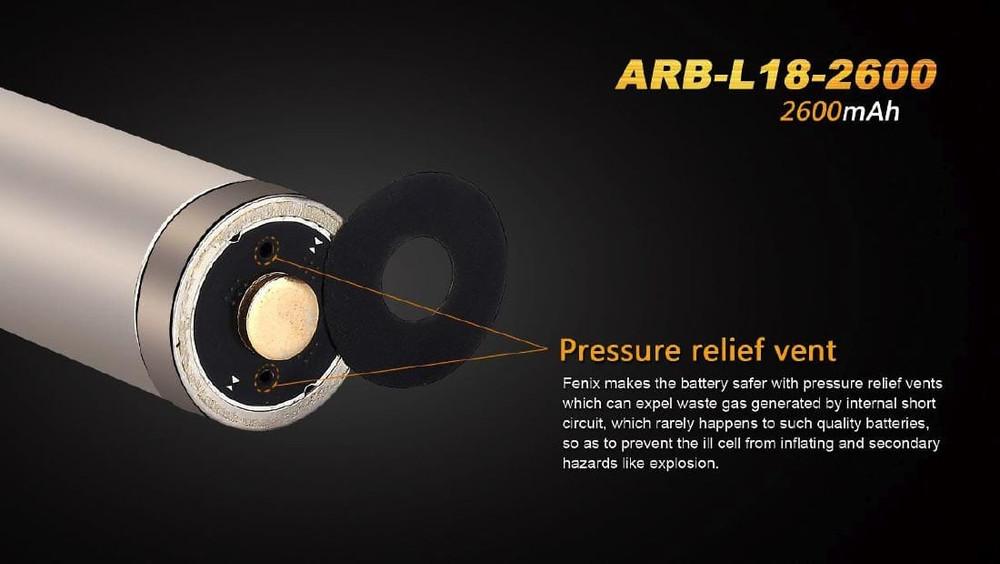 ARB-L18-2600 [18650] - Fenix Rechargeable - Li-ion 3.6V 2600mA
