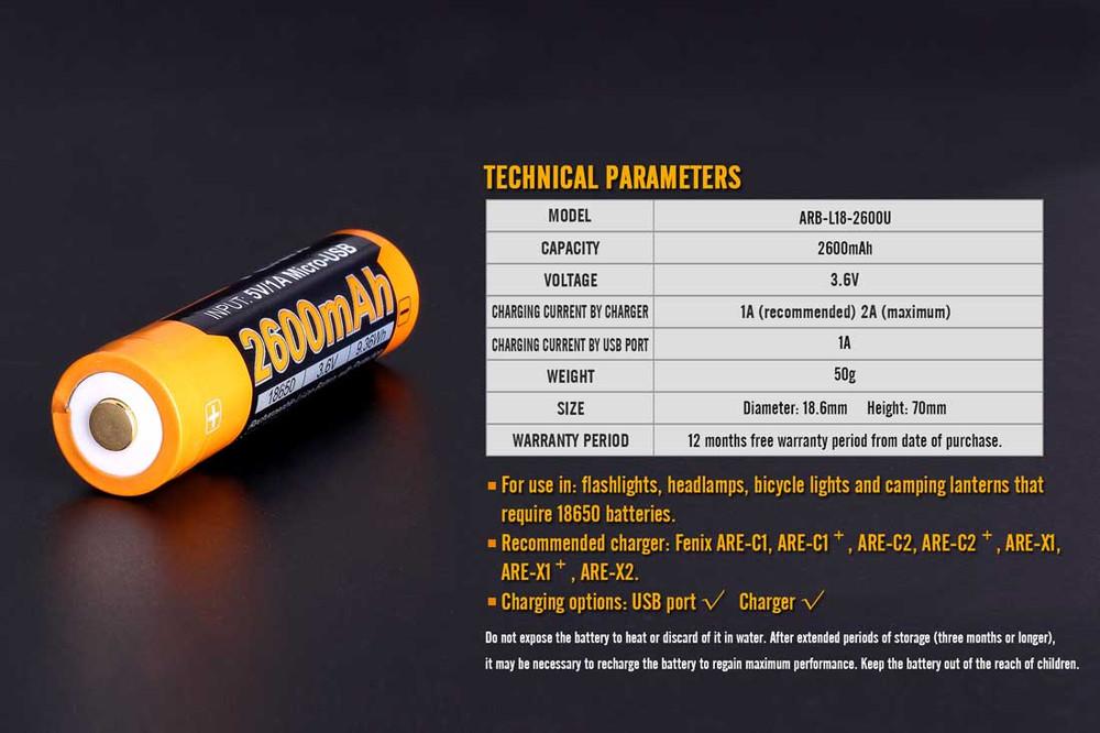 ARB-L18-2600U [18650] - Fenix Rechargeable - Li-ion 3.6V 2600mA