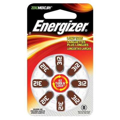 AZ312DP-8 - Energizer Hearing Aid Batteries - 8 pack size 312