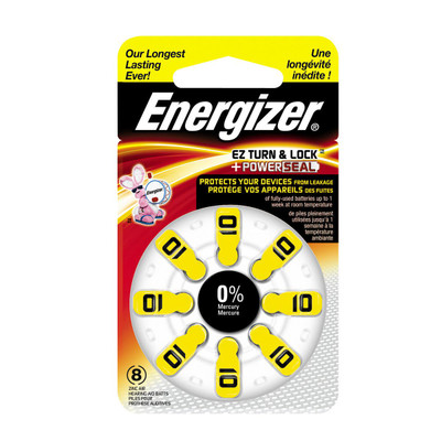 AZ10DP-8 - Energizer Hearing Aid Batteries - 8 pack size 10