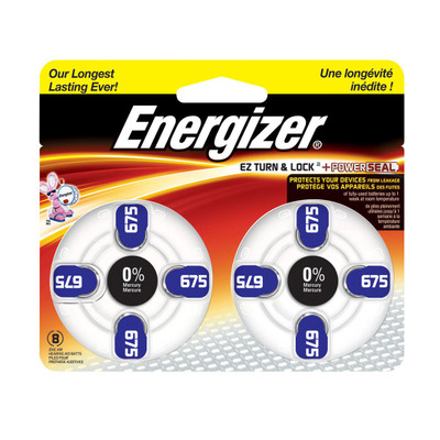 AZ675DP-8 - Energizer Hearing Aid Batteries - 8 pack size 675