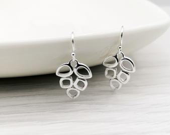 Silver Open Leaf Earrings