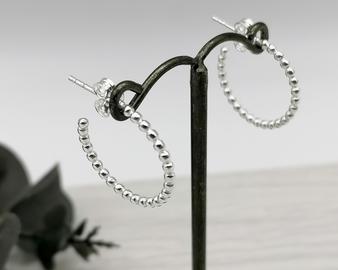 Silver Beaded Hoops