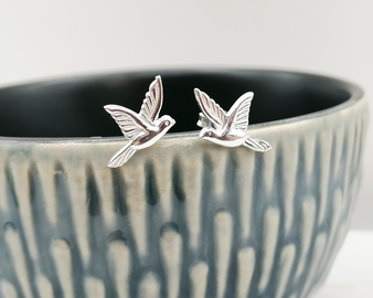 Silver Bird Stud Earrings