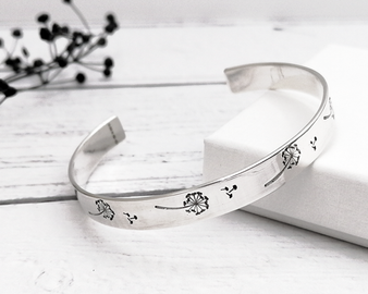 Dandelion Silver Cuff Bangle