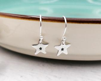 Starry Drop Silver Earrings