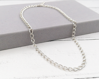Chunky Silver Curb Necklace