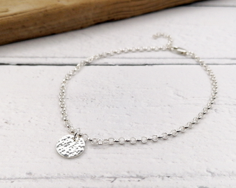 Silver Circle Charm Anklet