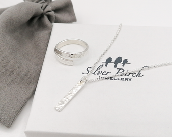 Hammered Gift Set 5 - Silver Ring & Necklace