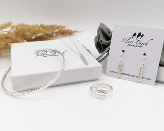 Hammered Full Gift Set - Silver Necklace, Ring, Bangle & Earrings