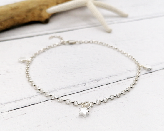 Silver Star Charm Anklet