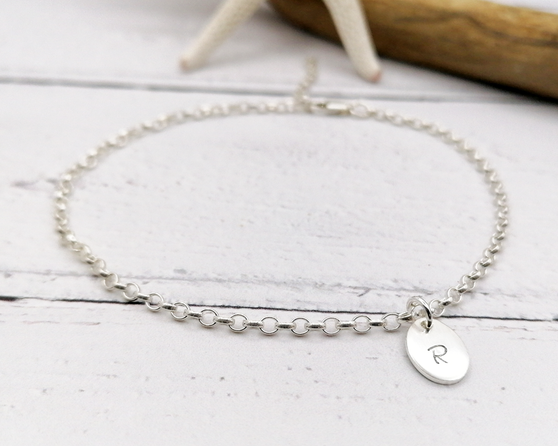 Initial Silver Charm Anklet