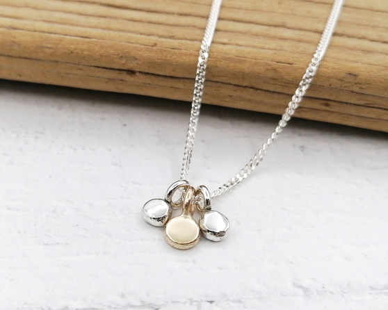 Silver and Gold Dot Cluster Necklace