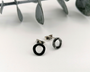 Mini Black Silver Circle Stud
