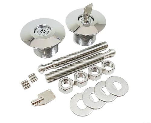 Quik-Latch Locking Low Profile Polished Hood Pins (Set of 2) QL-50L-LP/P