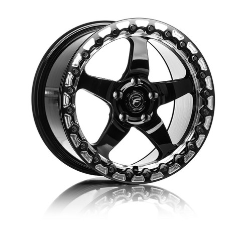 Forgestar D5 Beadlock Gloss Black Wheel w/Machined Lip + Dual Knurling 17x10 +45 5x120BC for 2010-2021 Camaro 5th & 6th Gen, 2009-2015 CTS-V 2nd Gen #BEAD1710D5BLKMC455120 F00170022P45 G8 GT & VE Commodore 2008-2009,  Chevy SS Sedan (Holden VF) 2014-2016, CTS-V Coupe 2011-2015, CTS-V Sedan 2009-2014, Camaro SS / ZL1 2010-2015, Camaro SS / 1LE / ZL1 2016-2021