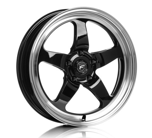 Forgestar D5 Gloss Black Wheel w/Machined Lip + Dual Knurling 18x5 -37 5x115BC (Front Runner) for Charger, Challenger, Magnum, 300 #1850D5BLKMC375115