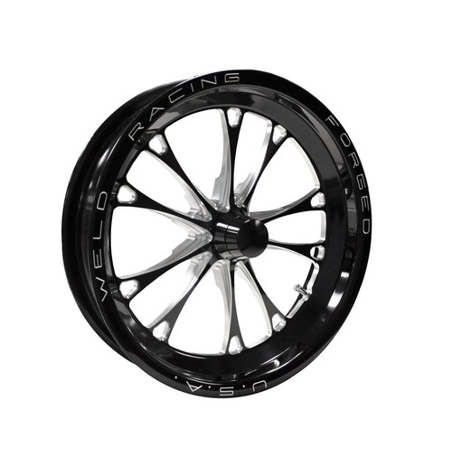 Weld Racing V-Series 1-Piece 15x3.5 / Strange Spindle MT / 1.75in. BS Black Drag Wheel - Non-Beadlock #84B-15001