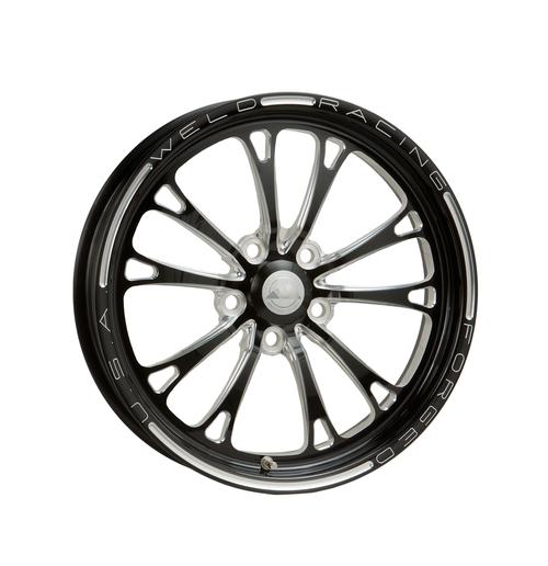 Weld Racing V-Series 1-Piece 15x3.5 / 5x4.75 BP / 1.75in. BS Black Drag Wheel - Non-Beadlock #84B-15274