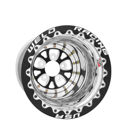 Weld Racing V-Series 16x16 / 5x4.75 BP / 4in. BS Black Drag Wheel - Black Double Beadlock #84B-616278UB
