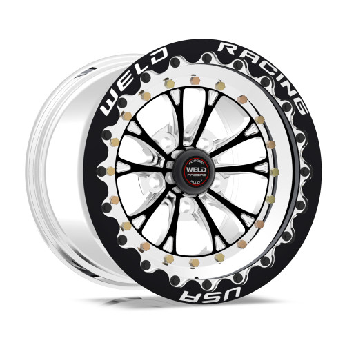 Weld Racing Vitesse 15x10 / 5x4.75 BP / 7.5in. Black Wheel - Black Single Beadlock Drag Wheel #794B510284F
