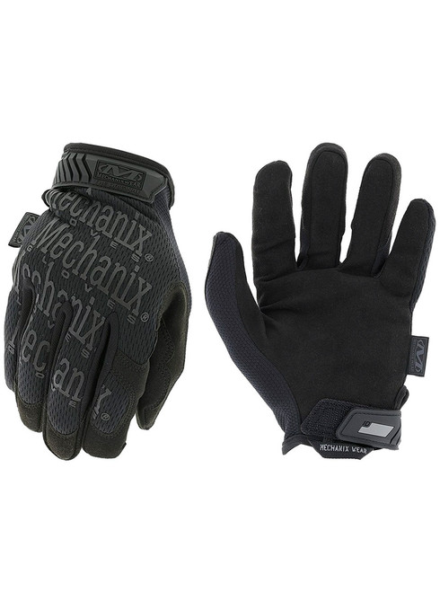 Mechanix Wear Original Gloves - Covert Black Stealth (Hoop & Loop Closure) Small to 2X-Large - MG-55