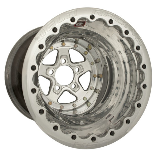 Weld Racing AlumaStar 2.0 15x15 / 5x4.75 BP / 3.00in. BS Polished Drag Wheel - Polished MT Beadlock - 88515276G