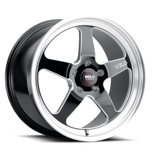 WELD Ventura 5 Drag Gloss Black Wheel with Milled Spokes 17x10 | 5x120 BC | +45 Offset | 7.25 Backspacing - S15570022P45 for G8 GT & VE Commodore 2008-2009, Chevy SS Sedan (Holden VF) 2014-2016, CTS-V Coupe 2011-2015, CTS-V Sedan 2009-2014, Camaro SS / ZL1 2010-2015, Camaro SS / 1LE / ZL1 2016-2021