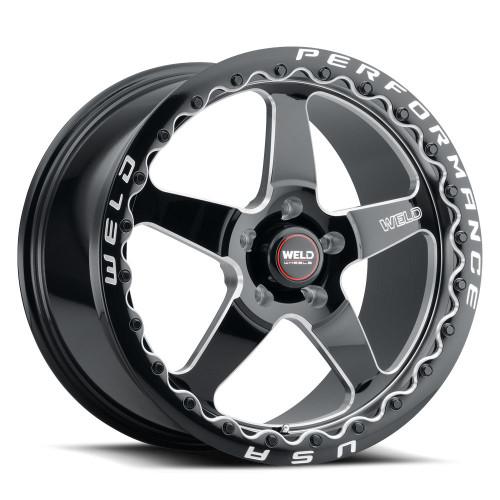 WELD Ventura 5 Beadlock Drag Gloss Black Wheel with Milled Spokes 20x10.5 | 5x127 BC (5x5) | +38 Offset | 7.25 Backspacing - S90400575P38 for Jeep Grand Cherokee SRT8 2006-2010, Jeep Grand Cherokee SRT 2012-2021, Jeep Trackhawk SRT 2018-2021