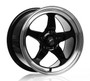 Forgestar D5 Gloss Black Wheel w/Machined Lip + Dual Knurling 15x10 +50 5x4.5BC for Ford Vehicles #1510D5BLKMC50545