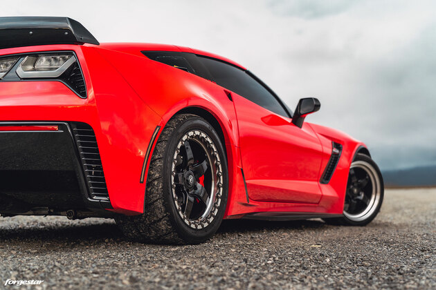 C7 Z06 Corvette with Forgestar 18x10 D5 Front Drag Wheels and 18x12 D5 Beadlock Drag Wheels