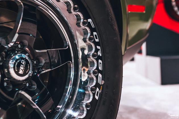 Weld S71 Beadlock Drag Wheels on Goldberg's Dodge Challenger Demon F8 Green @ DragRacingWheels.com