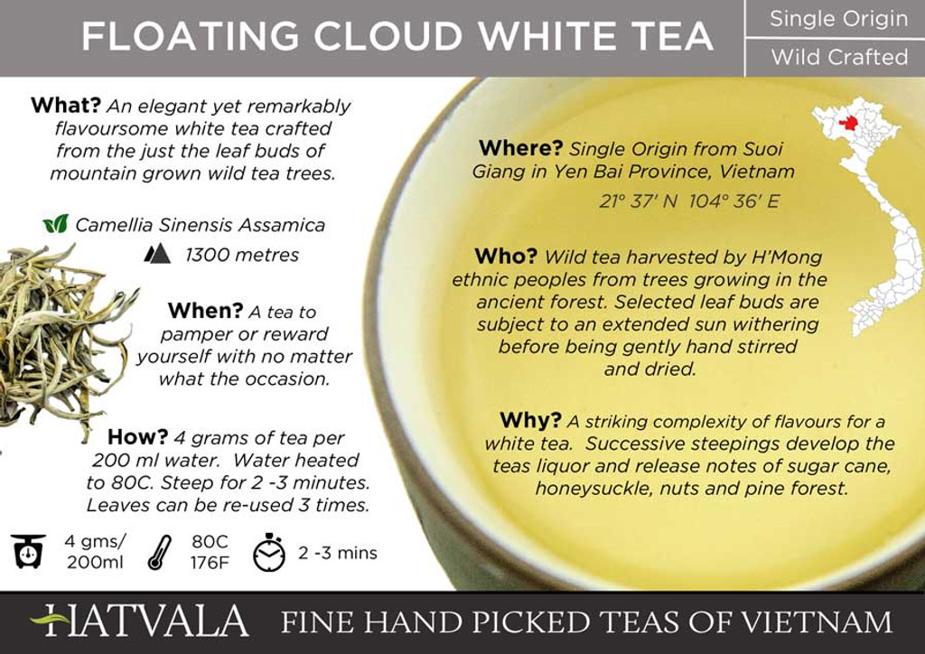 Floating Cloud White Tea, Vietnam Card